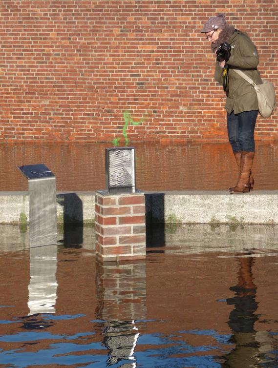 Nadelscanner Wissenschaftspfad Lübeck Innenstadt bei Hochwasser